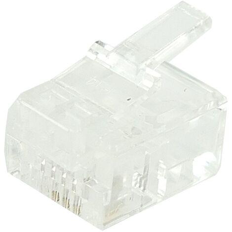 BeMatik - Conector telefónico RJ11 macho 6P4C para crimpar en paquete de 100 unidades