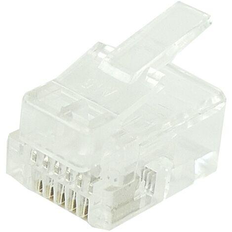 BeMatik - Conector telefónico RJ12 macho 6P6C para crimpar en paquete de 25 unidades