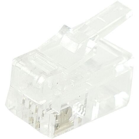BeMatik - Conector telefónico RJ9 macho 4P4C para crimpar en paquete de 100 unidades
