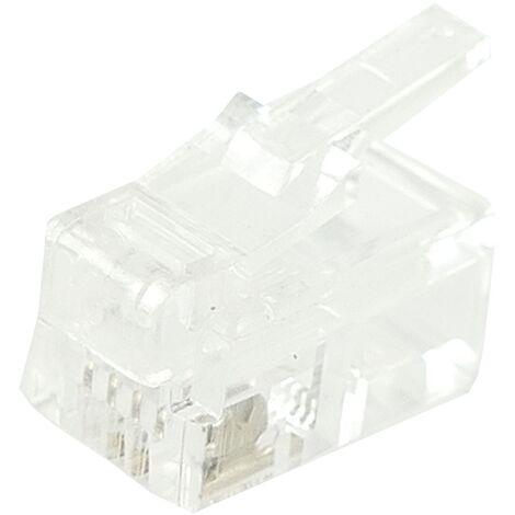 BeMatik - Conector telefónico RJ9 macho 4P4C para crimpar paquete de 25 unidades