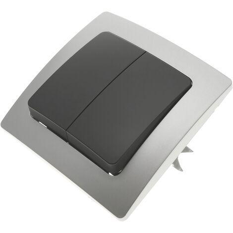 BeMatik - Conmutador doble empotrable con marco 80x80mm serie Lille de color plata y gris