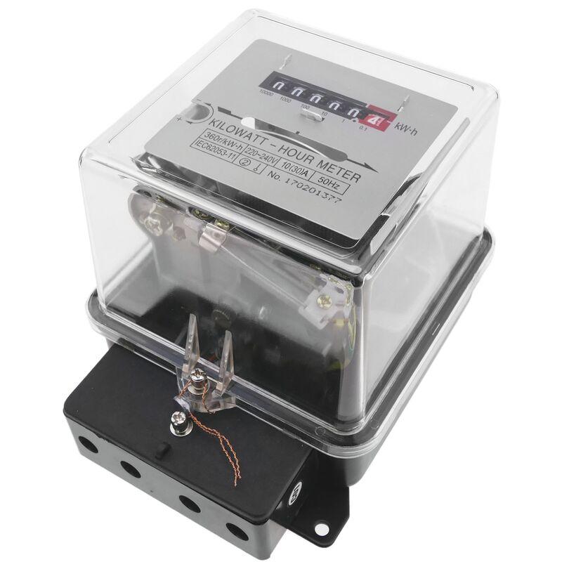 Contador medidor de electricidad monofásico 10A 230V 50Hz de plástico transparente 30A máx. - Bematik