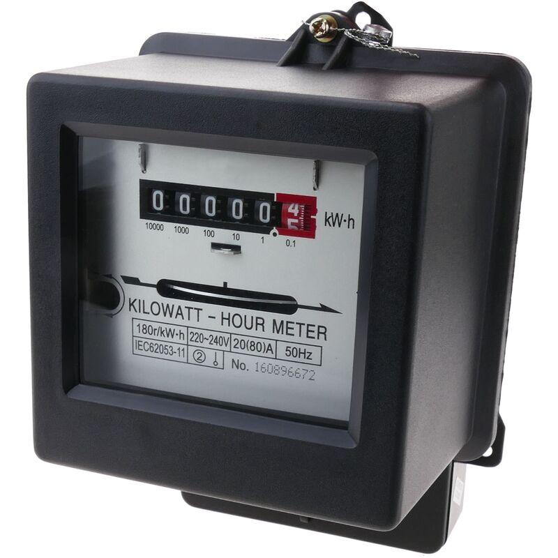 Contador medidor de electricidad monofásico 20A 230V 50Hz de plástico negro 80A máx. - Bematik