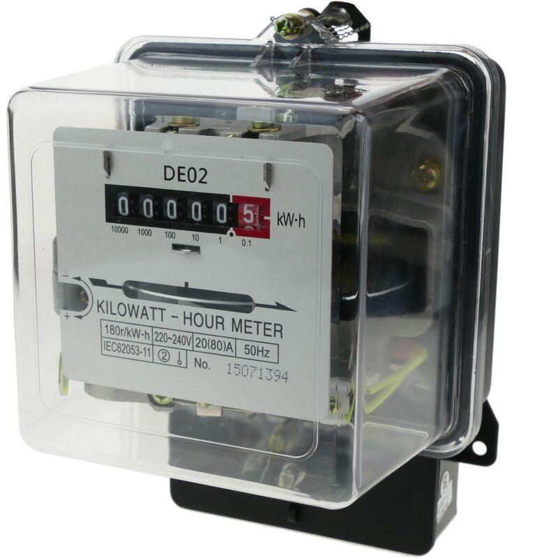 Contador medidor de electricidad monofásico 20A 230V 50Hz de plástico transparente 80A máx. - Bematik