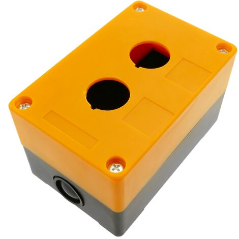 BeMatik - Control case box for electrical devices for 2 push button or switch 22mm yellow
