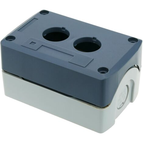 BeMatik - Control case box for electrical devices for 2 push buttons or switches 22mm gray