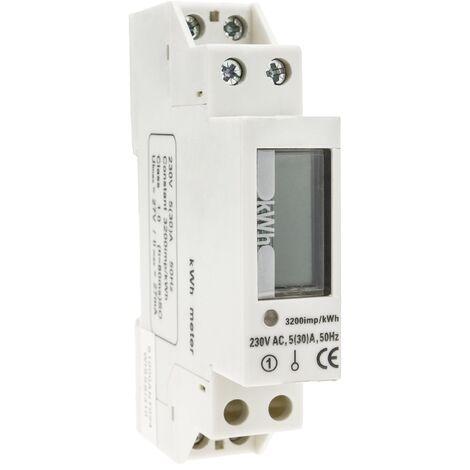 BeMatik Current electricity meter single phase alternating 30A 230V 50Hz transparent plastic