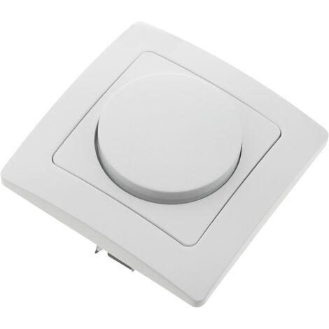 BeMatik - Dimmer light switch mechanism with 80x80mm cover frame Lille series white