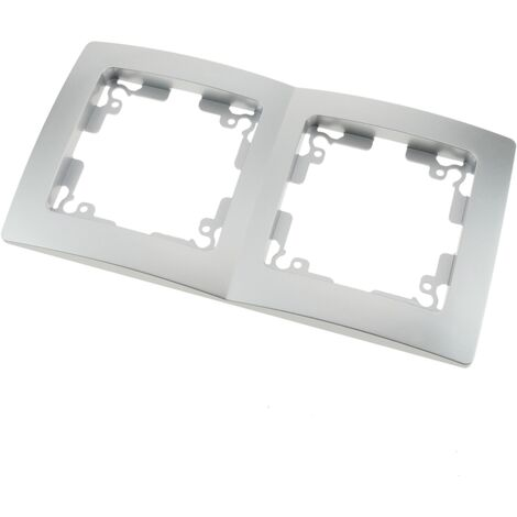 BeMatik - Double cover frame for 2 module 150x80mm Lille series silver and gray