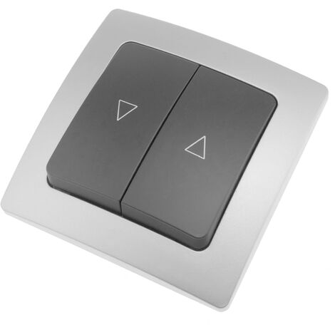 BeMatik - Double gang push button mechanism with 80x80mm cover frame Lille series silver and gray