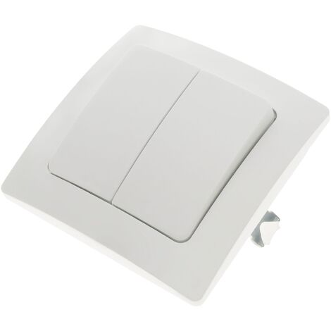 BeMatik - Double gang two way light switch mechanism with 80x80mm cover frame Lille series white