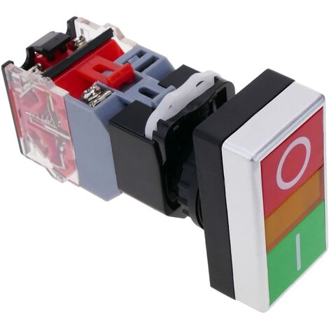 BeMatik - Double push-button switch 500V 10A 22mm 1NO1NC with latching and light