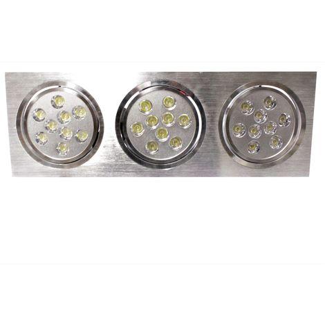BeMatik - Downlight empotrable LED 3x9W 139x400mm rectangular blanco frío día 6000K