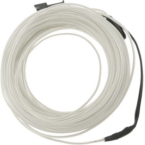 BeMatik - Electroluminescent Cable 1.3mm transparent-white 5m coiled cable with battery