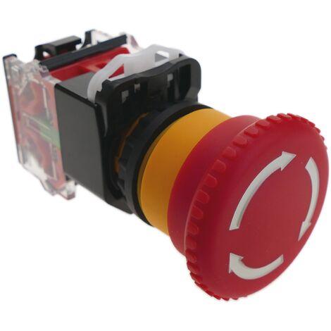 BeMatik - Emergency stop push button 22mm 1NO 1NC 500V 10A with locking mushroom 40mm