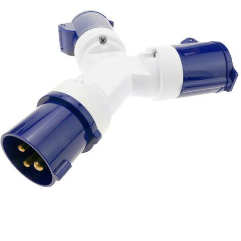 BeMatik - Enchufe industrial Adaptador CETAC macho a 2 x CETAC hembra 2P+T 16A 250V IP44 IEC-60309