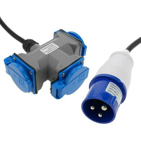 BeMatik - Enchufe industrial Adaptador CETAC macho a 3 x CETAC hembra 2P+T 16A 250V IP44 IEC-60309 cable 15cm
