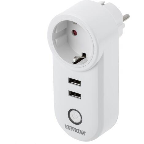 BeMatik - Enchufe inteligente 16A 3680W WiFi Blanco con dos puertos USB compatible con Google Home, Alexa y IFTTT