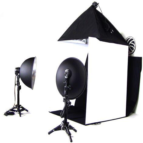 BeMatik - Estudio fotográfico portátil de 60cm con softbox y focos