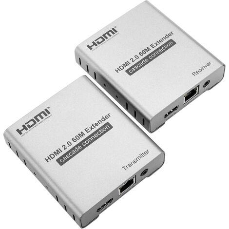 BeMatik - Extendeur HDMI 2.0 avec extension infrarouge 60m 4k FullHD 1080p via un câble Ethernet Cat.5e Cat.6