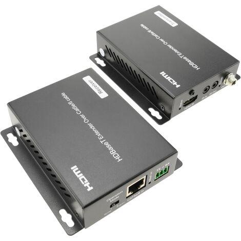 BeMatik - Extensor HDMI UltraHD 4K 2K FullHD 1080p Cat.5e Cat.6 compatible con HDBaseT HDBT 70m - Tx y Rx