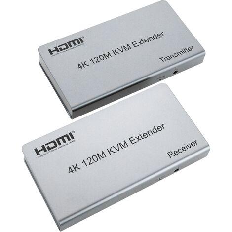 BeMatik - Extensor KVM de 4K HDMI USB IR a través de Ethernet hasta 120m emisor y receptor