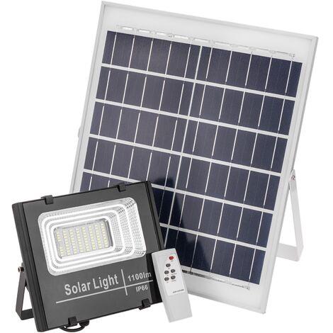 BeMatik - Foco de luz LED de 840 lm para exterior IP65 con batería recargable 10000 mAh y panel solar