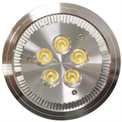 BeMatik - Foco empotrable LED AR111 G53 5W 95mm plateado blanco frío día 6000K
