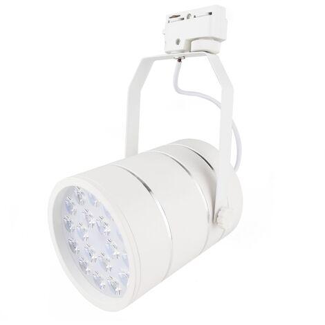 BeMatik - Foco LED de rail 12W blanco frío día 100x125mm blanco y plata
