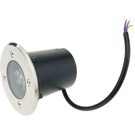 BeMatik - Foco LED de suelo de 3W 90mm. Luz de color rojo