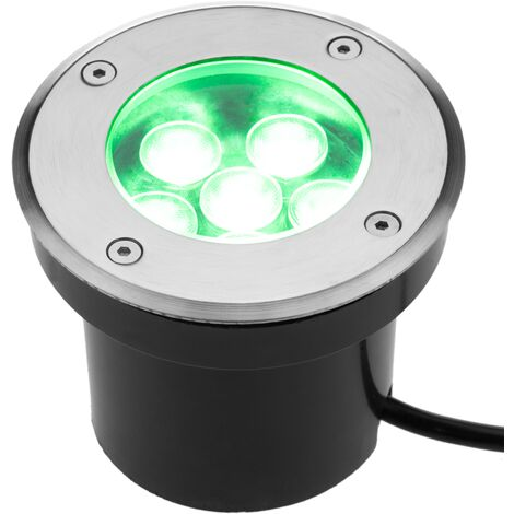 BeMatik - Foco LED de suelo de 5W 100mm con luz de color verde