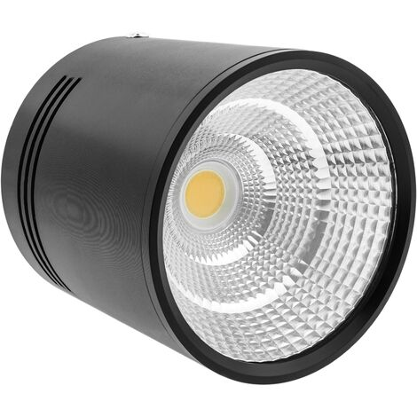 BeMatik - Foco LED de superficie Lámpara COB 12W 220VAC 3000K negra 100mm