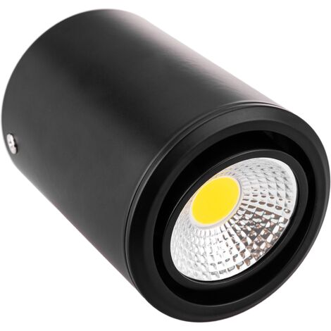 BeMatik - Foco LED de superficie Lámpara COB 5W 220VAC 3000K negra 75mm orientable