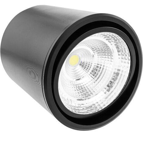 BeMatik - Foco LED de superficie Lámpara COB 7W 220VAC 3000K negra 90mm