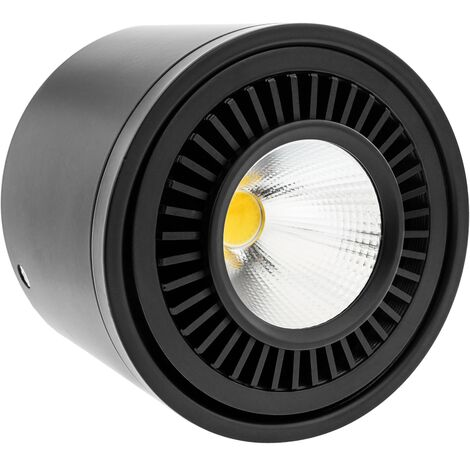 BeMatik - Foco LED de superficie Lámpara COB 9W 220VAC 6000K negra 85mm
