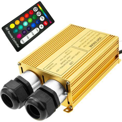 BeMatik - Fuente de luz LED iluminador para fibra óptica 2x16W RGB 20 mm RF