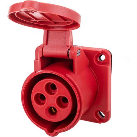 BeMatik - Industrial outlet CETAC female socket 2P+T 16A 380V IP44 IEC-60309 for embedding