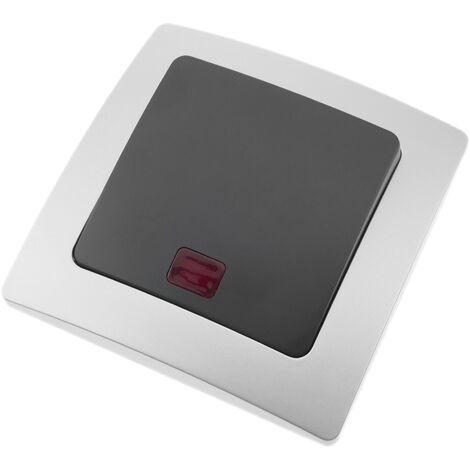 BeMatik - Interrupteur lumineux va-et-vient encastrable avec plaque de finition 80x80mm série Lille argent et