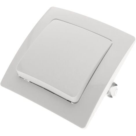 BeMatik - Interrupteur permutateur encastrable avec plaque de finition 80x80mm série Lille blanc