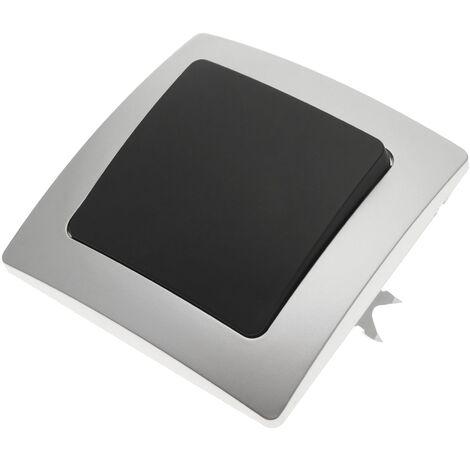 BeMatik - Interrupteur simple encastrable avec plaque de finition 80x80mm série Lille argent et gris