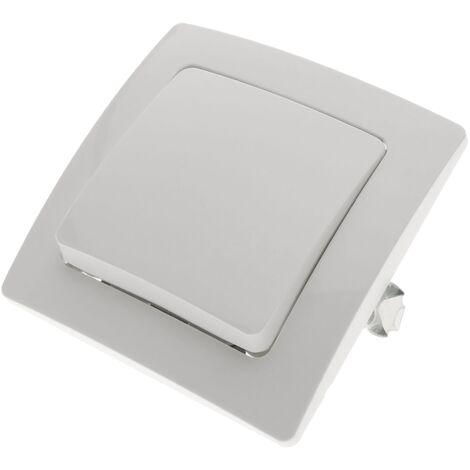 BeMatik - Interrupteur simple encastrable avec plaque de finition 80x80mm série Lille blanc