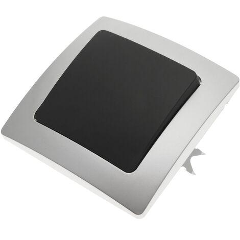 BeMatik - Interrupteur va-et-vient encastrable avec plaque de finition 80x80mm série Lille argent et gris
