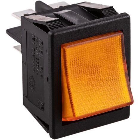 BeMatik - Interruptor basculante ámbar luminoso DPST 4 pin