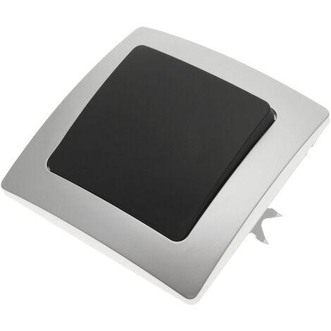BeMatik - Interruptor de cruzamiento empotrable con marco 80x80mm serie Lille de color plata y gris