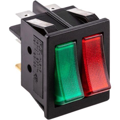BeMatik - Interruptor luminoso basculante rojo y verde dos canales DPDT 6 pin