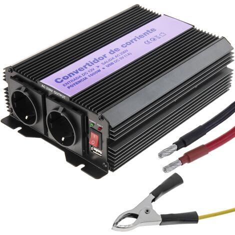 BeMatik - Inversor eléctrico onda modificada 12 VDC a 220 VAC de 1000W y USB