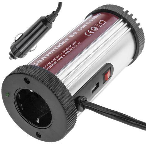 BeMatik - Inversor eléctrico onda modificada 12 VDC a 220 VAC de 150W y USB