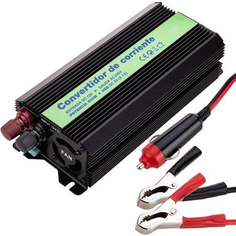 BeMatik - Inversor eléctrico onda modificada 12 VDC a 220 VAC de 600W y USB