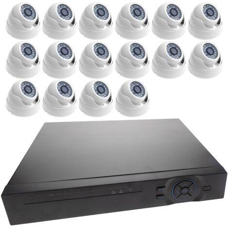 BeMatik - Kit de video vigilancia DVR con 16 cámaras domo compatible HDMI VGA CVBS IP