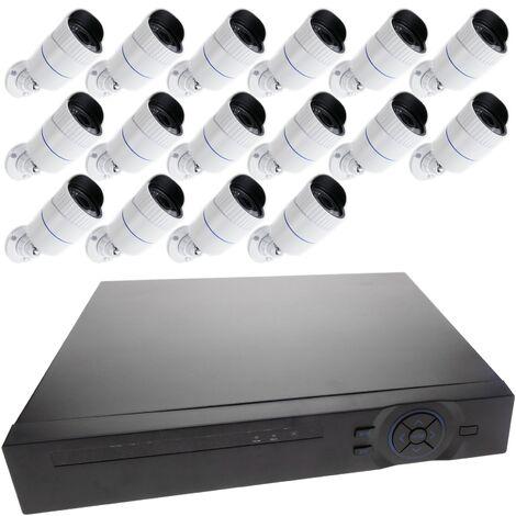 BeMatik - Kit de videovigilancia DVR con 16 cámaras peana compatible HDMI VGA CVBS IP
